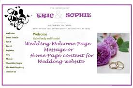 Write Welcome Page For Wedding Website