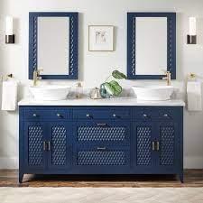 72 Thorton Mahogany Double Vessel Sink Vanity Bright Navy Blue Bathroom
