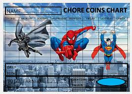Spiderman Reward Chart Spiderman Chore Coin Reward Chart With Free Pen Matching