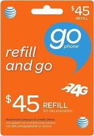 45 at t gophone top up prepaid card