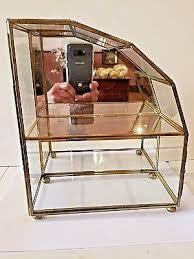 brass glass wall mount countertop miniature curio display case 9 1 4