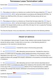 Notice Of Lease Termination Letter From Landlord To Tenant Free Tennessee 30 Day Lease Termination Letter Month To Month
