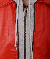 red hooded leather vest