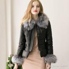 2019 autumn winter europe fashion women s pu leather jacket faux fur collar cuff warm coat lady s outwear black jackets coats c2323 from sunbb03