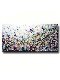 original art abstract painting purple blue flowers poppies textured purple wall art large