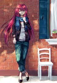 illustration, redhead, long hair, anime ...