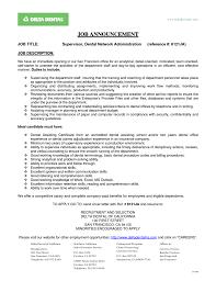 Office Manager Job Description Template Dental Front Desk Resume