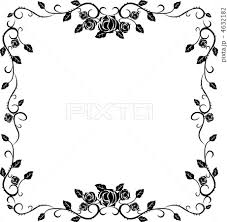 花 つる フレーム モノクロのイラスト素材 Pixta
