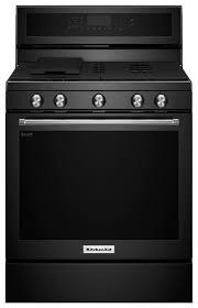 kitchenaid 5 8 cu ft self cleaning freestanding gas convection range black