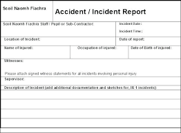 Form For Accident Incident Report To Cool Hazard Incident Report Form Template Sample Church Employee