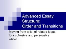 lecture narration continued outline objectives of lecture  advanced essay structure order and transitions moving from a list of related ideas to a