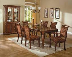 brown dining room decorating ideas. classic dining room furniture showing brown lacquer rectangle solid oak wood table with varnishes decorating ideas t