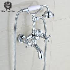 ideal bathtub wall faucet telephone style chrome dual handle bathroom bathtub faucet set wall mounted bathroom