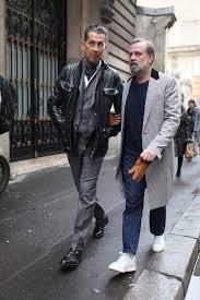 how to wear black leather field jacket charcoal blazer charcoal waistcoat white