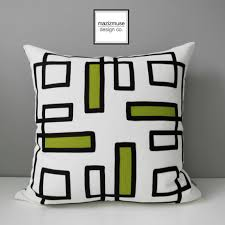 Acid Green Outdoor Pillow Cover Decorative Black & White