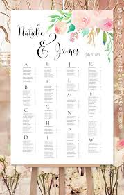 Wedding Seat Chart Poster Wedding Seating Chart Poster Watercolor Floral 3 Print Ready Digital