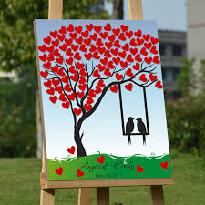 personalized wedding guestbook fingerprint tree guest book for wedding canvas red heart signature book wood frame
