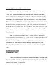 Trinity Industries Organizational Chart Acc 675 Trinity Industries Docx Overview Of The