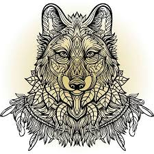Drawn Wolf Wolf Hand Drawn Wolf Side View With Ethnic Floral Doodle Pattern