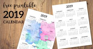 one page calender calendar 2019 printable one page paper trail design