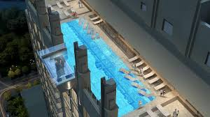a rendering of the rooftop cantilevered pool at market square tower a 40 story