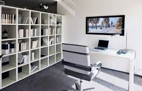 White home office design big white Scandinavian White And Grey Home Office With Small Computer Desk Contemporary White And Grey Desk Chair Bookshelves Line One Wall Mounted Flat Screen Television Pinterest 51 Really Great Home Office Ideas photos Home Office Home