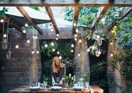 best outdoor decor for small spaces backyard with hanging lights