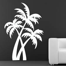palm tree wall stickers: dctop hot sale plant wall decals living room removable brown vinyl palm trees wall sticker for