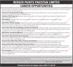 berger paints limited jobs berger paints job description berger paints limited lahore is looking for experienced staff for the posts of production incharge production shift supervisor