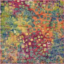 multi squares barcelona 6 6 square rug good teal rugs x