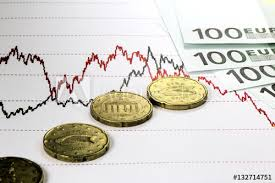 Stock Market Prices Chart Hundred Euro Bills Lying On The