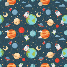 Pattern Universe Fascinating Seamless Children Cartoon Space Pattern With Rockets Planets Stars