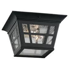 Sea Gull Lighting Herrington 2 Light Outdoor Black Hanging Ceiling