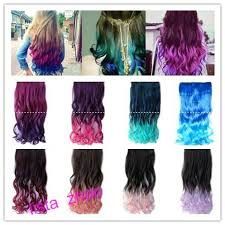 New Style Fashion Rainbow Fading Color Curly Clip On Hair