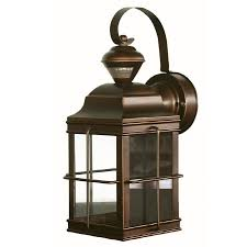 secure home new england carriage 14 75 in h antique bronze motion activated outdoor wall light