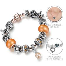 under the sea silver rose gold pandora style bracelet combo set with 14 charms
