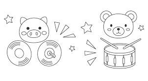 無料の太鼓とシンバルとかわいい動物のぬりえ ぬりえパーク