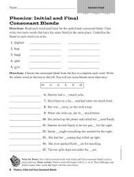 Phonics: Initial and Final Consonant Blends Worksheet for 2nd ...