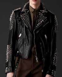 burberry mens studded leather jacket