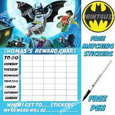 Lego Batman Reward Chart Magnetic Lego Batman Reward Chart Personalised Reusable Matching Stickers Pen