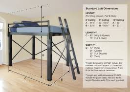 Fascinating View Dimension Diagram Queen Loft Bed Francis Lofts Bunks in Queen  Bed Size