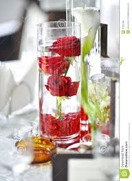 red and white table decorations. Luxury Wedding Decoration With Red Roses In A Glass And White Table Decorations C