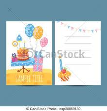 Happy Birthday Postcard Vector Illustration