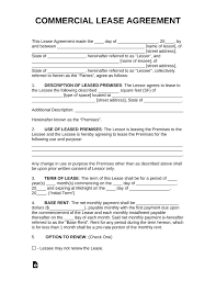 Standard Commercial Lease Agreement Free Commercial Rental Lease Agreement Templates Pdf Word