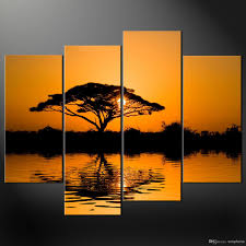 framed 4 panel large african wall art decor modern sunset oil painting beach picture home decor xd01886 african wall art decor canvas art picture online  on sunset wall art canvas with framed 4 panel large african wall art decor modern sunset oil