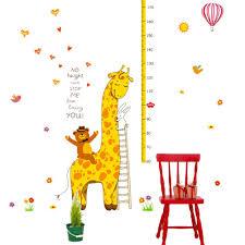 Cute Giraffe Height Growth Chart Wall Sticker Decal For