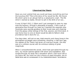 short story i survived the titanic gcse english marked by  document image preview