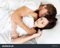 Lovely Couple In Bed Lying In Bedroom Young Lovely Beautiful Couple Lying Sleeping Stock Photo 97392698