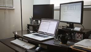impressive office desk setup. Impressive Laptop And Monitor Desk Setup Tips For Setting Up Your Home Office Without Breaking The Bank S