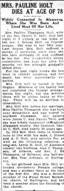 Obituary for Pauline Thompson HOLT (Aged 78) - Newspapers.com